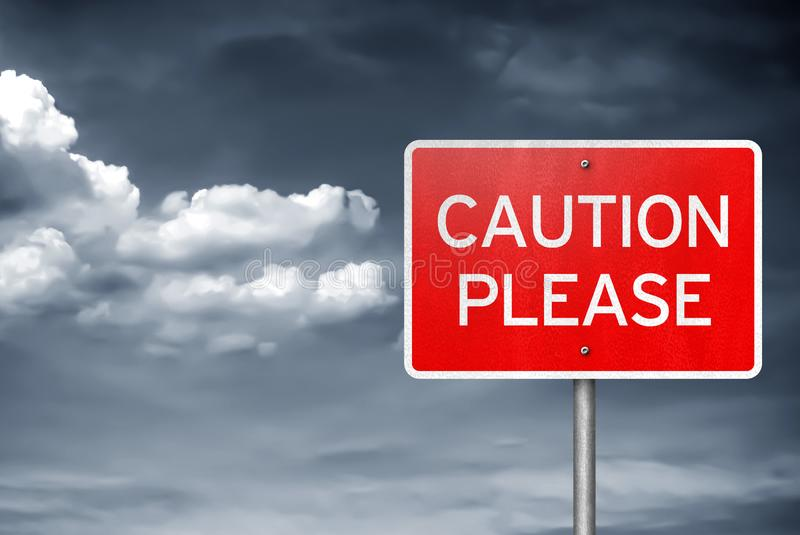 Advirta por favor - a informação do sinal de tráfego fotografia de stock royalty free