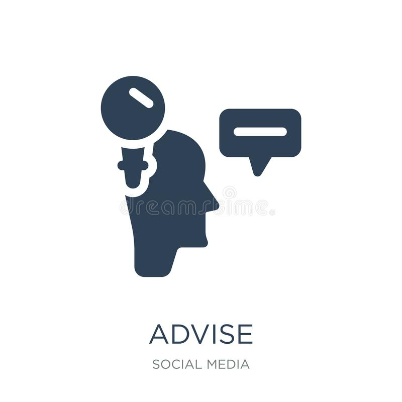 Advise icon in trendy design style. advise icon isolated on white background. advise vector icon simple and modern flat symbol for. Web site, mobile, logo, app royalty free illustration