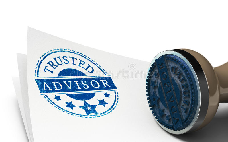 Advisor or Business Consulting Concept. Advisor rubber stamp imprinted on a sheet of paper over white background. Concept of trust and business consulting stock illustration