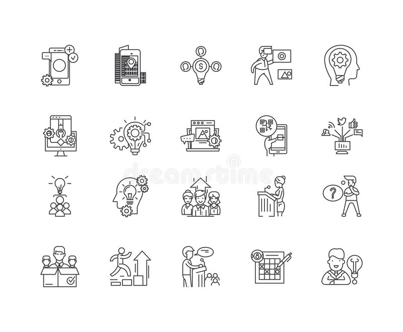 Advisor line icons, signs, vector set, outline illustration concept. Advisor line icons, linear signs, vector set, outline concept illustration stock illustration