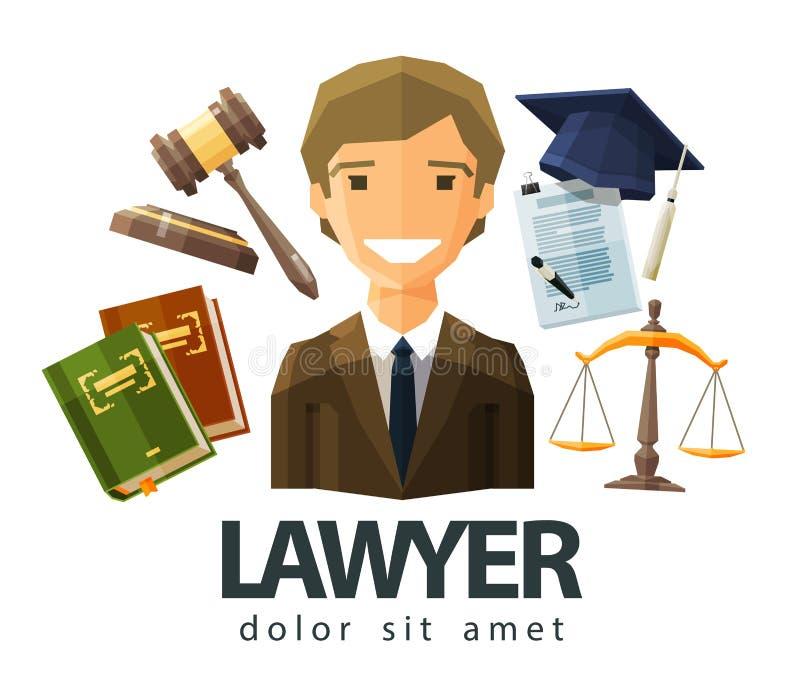 Advocaat, procureur, ontwerp van het juristen het vectorembleem vector illustratie