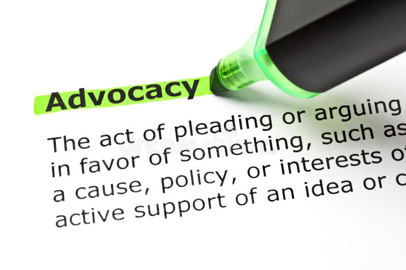 Advocacy Dictionary Definition Green Marker. Dictionary definition of the word Advocacy highlighted with green text marker stock images