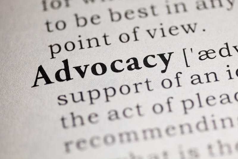 Advocacy. Fake Dictionary, Dictionary definition of the word Advocacy. including key descriptive words royalty free stock images