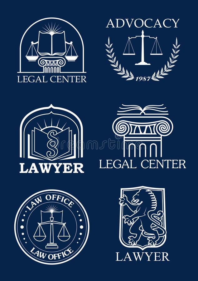 Advocacy or lawyer legal vector icons set royalty free illustration