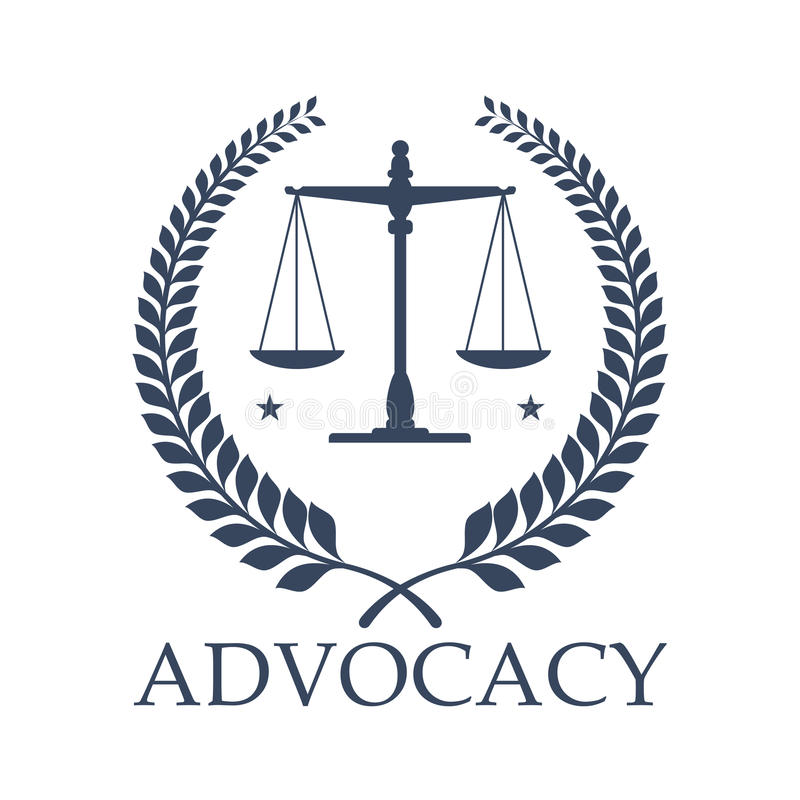 Advocacy legal center vector icon justice scales vector illustration