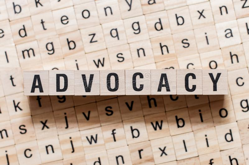 Advocacy word concept on cubes.  royalty free stock photo