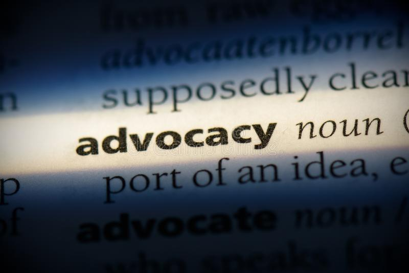 Advocacy. Word in a dictionary.  concept, definition stock photos