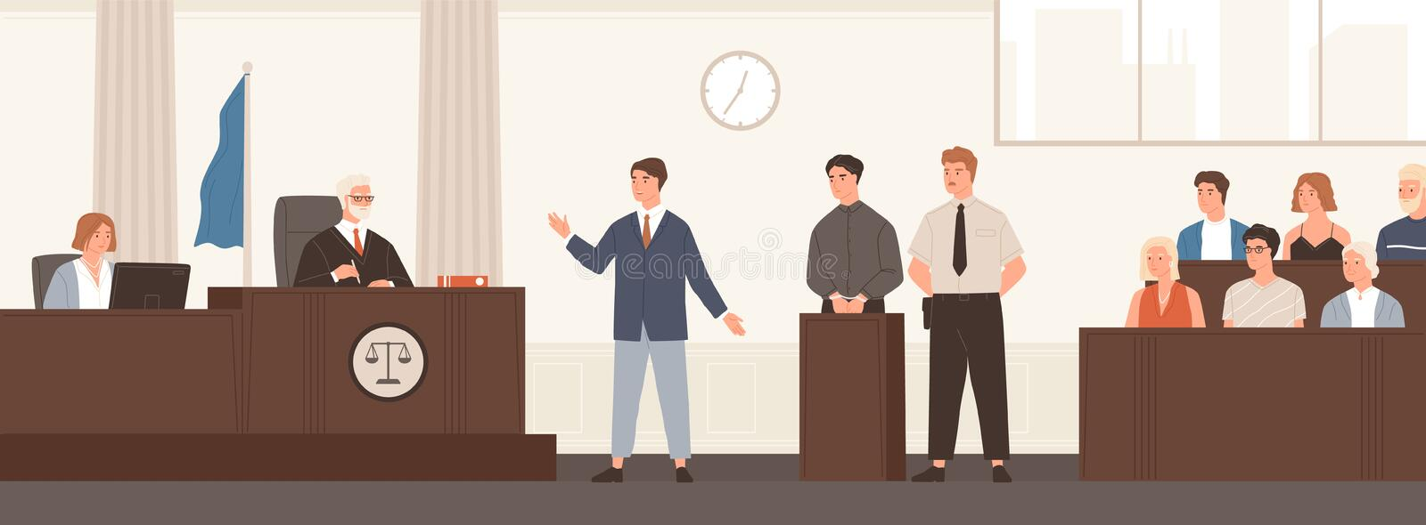 Advocate or barrister giving speech in courtroom in front of judge and jury. Legal defence, public hearing and criminal. Procedure at court or tribunal. Flat royalty free illustration