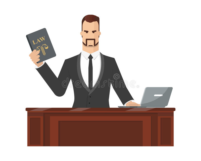 Advocate. Gives consultation to the client via the company`s website referring to the law and the constitution. Vector illustration royalty free illustration