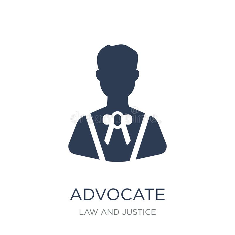 Advocate icon. Trendy flat vector advocate icon on white background from law and justice collection. Vector illustration can be use for web and mobile, eps10 royalty free illustration