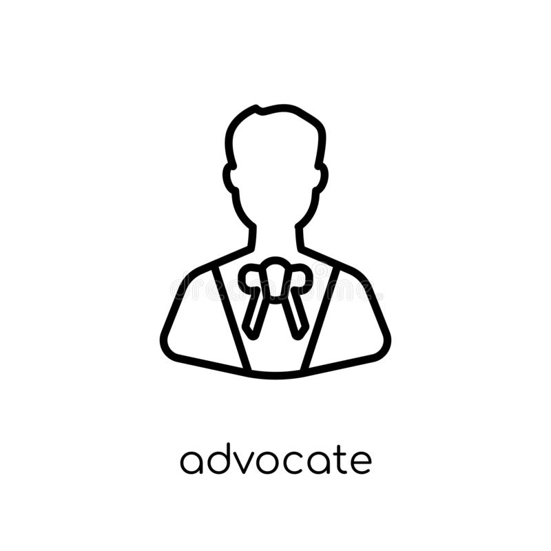 Advocate icon. Trendy modern flat linear vector advocate icon on. White background from thin line law and justice collection, editable outline stroke vector stock illustration