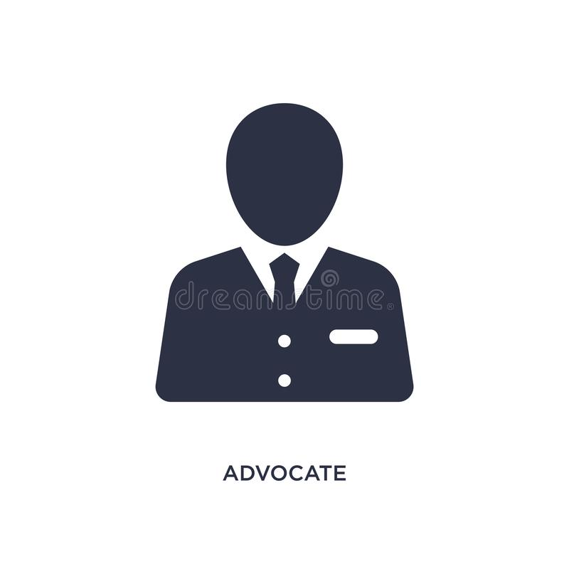 Advocate icon on white background. Simple element illustration from law and justice concept. Advocate isolated icon. Simple element illustration from law and royalty free illustration