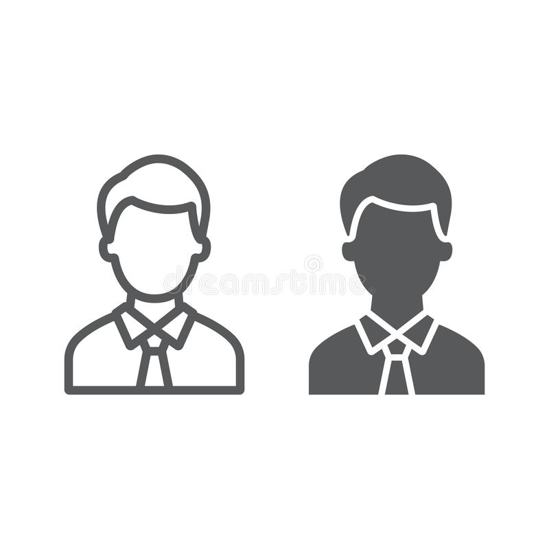 Advocate line and glyph icon, justice and law, person sign, vector graphics, a linear pattern on a white background. Advocate line and glyph icon, justice and stock illustration