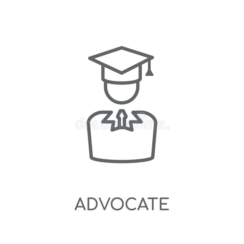 Advocate linear icon. Modern outline advocate logo concept on wh. Ite background from law and justice collection. Suitable for use on web apps, mobile apps and vector illustration