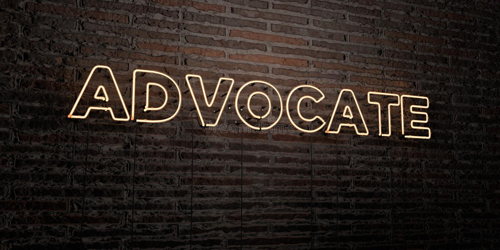 ADVOCATE -Realistic Neon Sign on Brick Wall background - 3D rendered royalty free stock image stock illustration