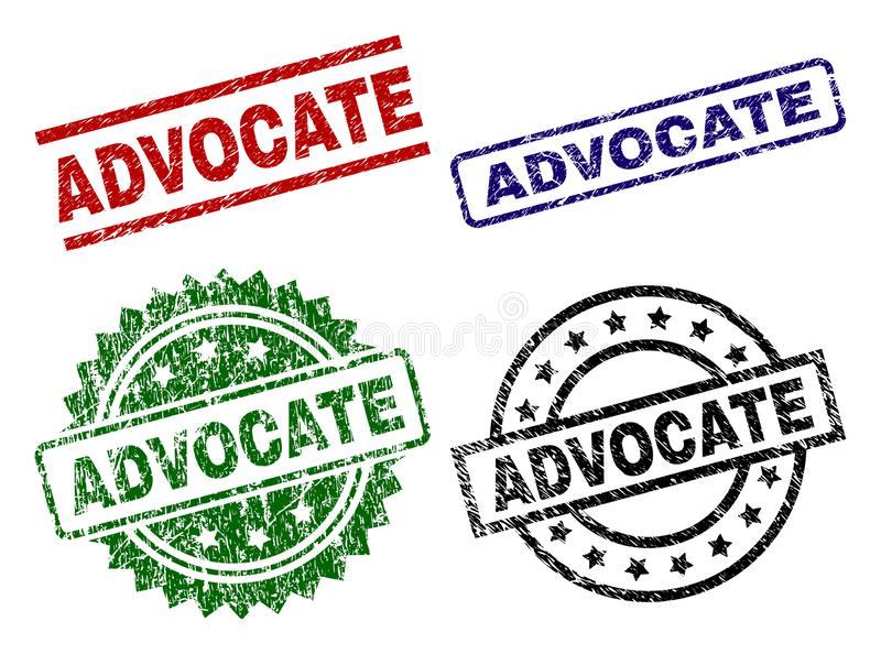 Grunge Textured ADVOCATE Stamp Seals. ADVOCATE seal prints with corroded surface. Black, green,red,blue vector rubber prints of ADVOCATE tag with dust texture stock illustration