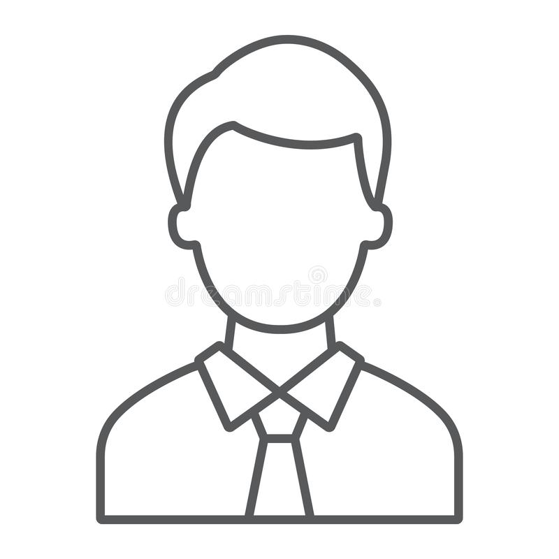 Advocate thin line icon, justice and law, person sign, vector graphics, a linear pattern on a white background. Advocate thin line icon, justice and law, person stock illustration