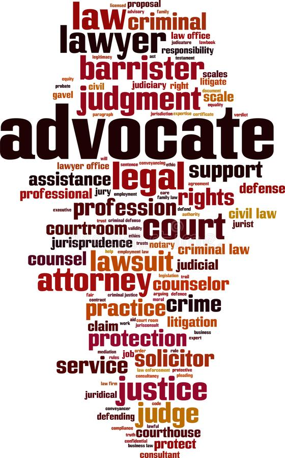 Advocate word cloud. Concept. Vector illustration royalty free illustration