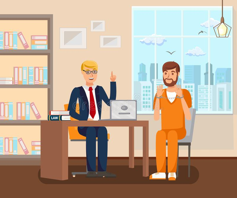 Advocate Works in Office Flat Vector Illustration. Cartoon Legal Consultant Advising Client on Case. Discussing Litigation Process with Convict, Suspect vector illustration