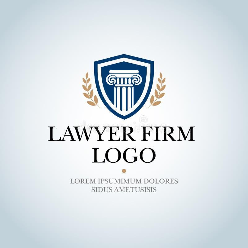 Advocatenkantoor, Wetsbureau, de Advocaatdiensten, Geïsoleerd Vectorembleemmalplaatje stock illustratie