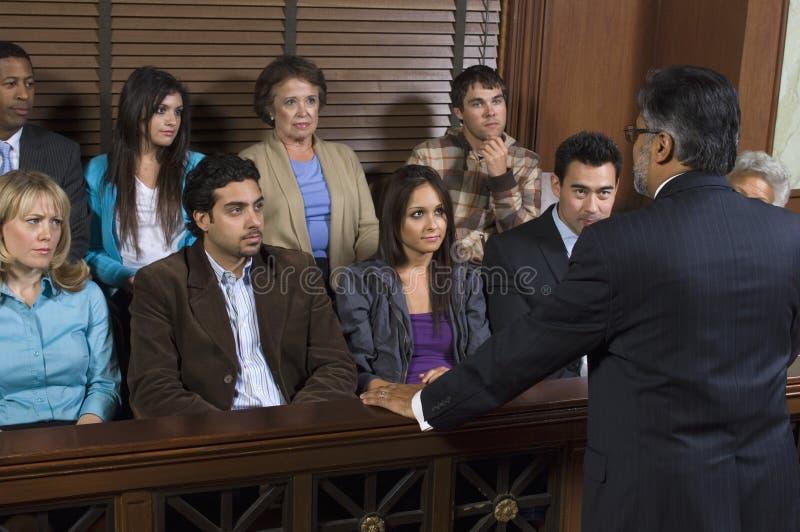 Advogado Addressing Jury imagens de stock