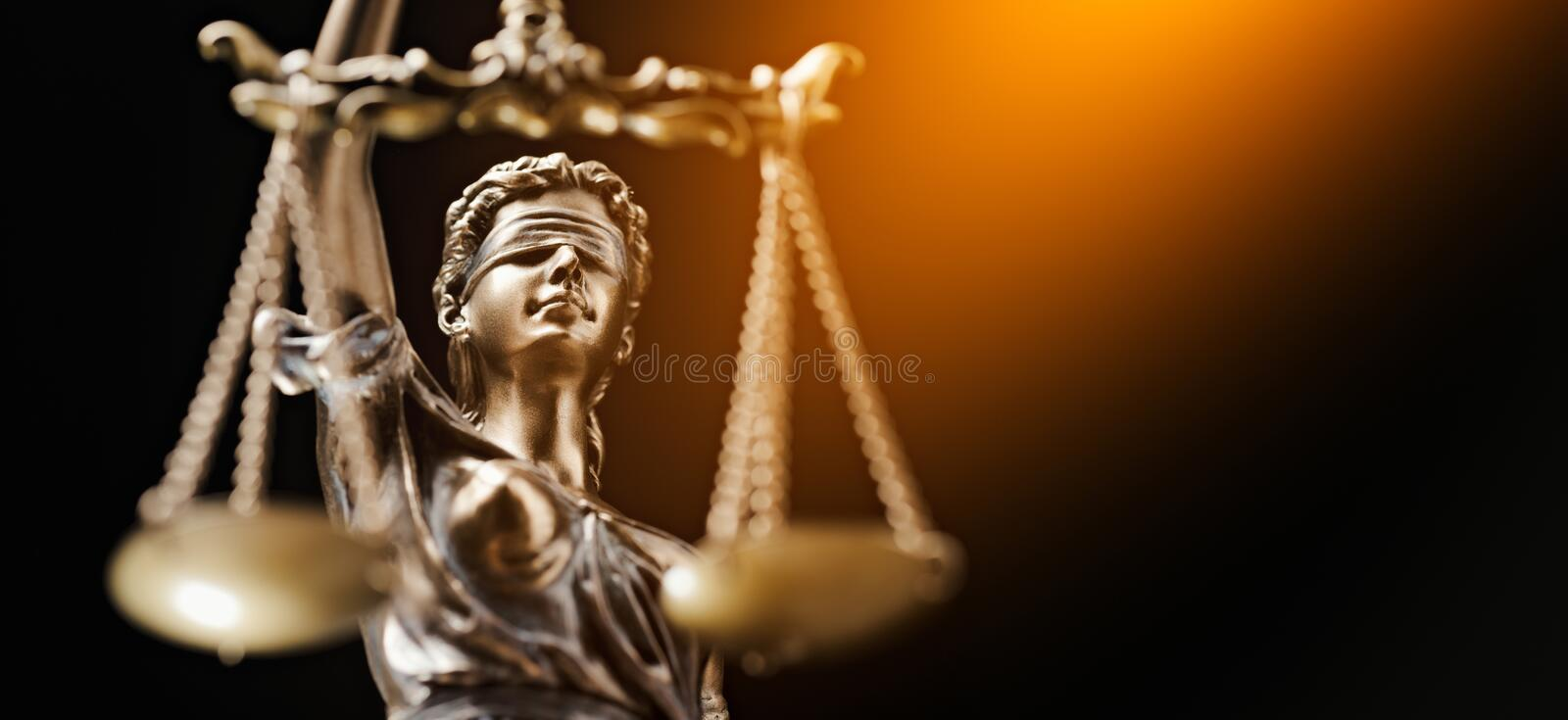 Advogado Business Concept de Themis Statue Justice Scales Law foto de stock royalty free