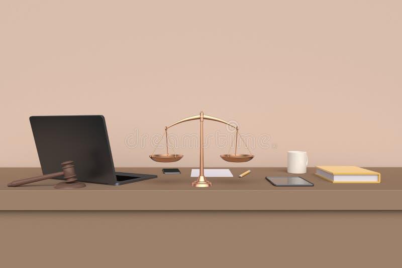 Advogado do local de trabalho Opini?o dianteira da tabela rendi??o 3d ilustração stock