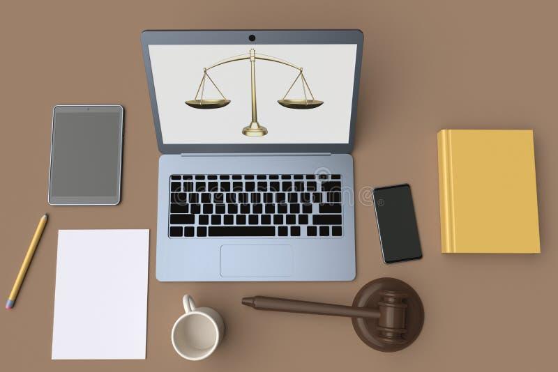 Advogado do local de trabalho Opini?o de tampo da mesa rendi??o 3d ilustração stock