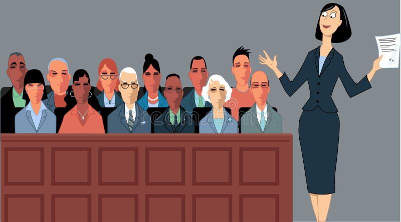 Advogado e júri ilustração do vetor