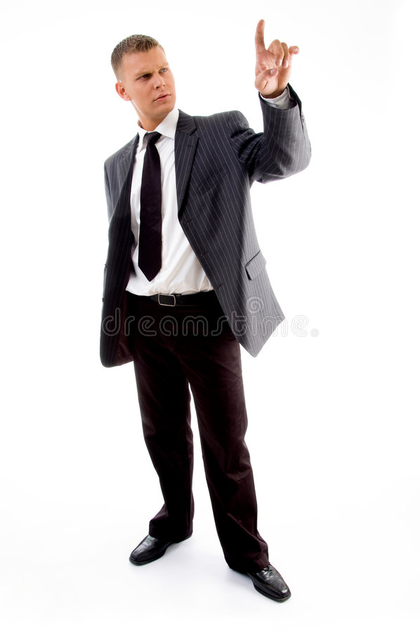 Advogado ereto que olha seu indicador fotografia de stock