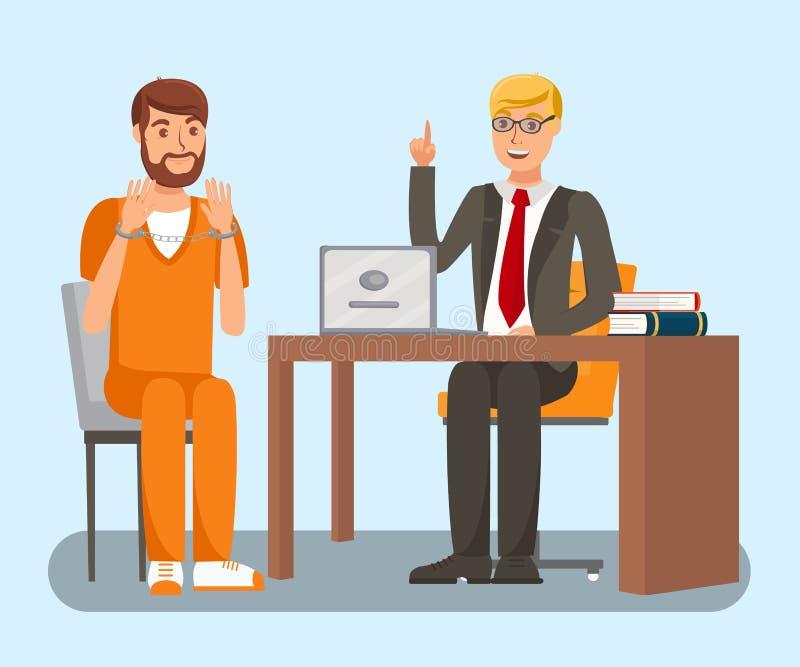 Advogado Talking à ilustração lisa do vetor do cliente ilustração stock