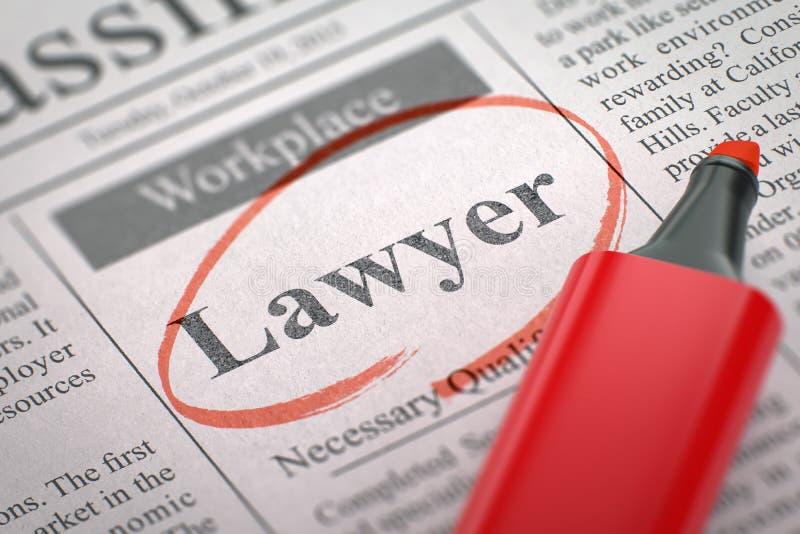 Advokat Hiring Now 3d royaltyfri fotografi