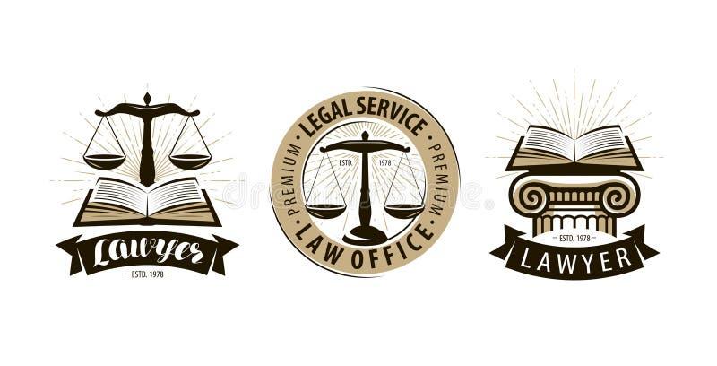 Advokat, logo för lagkontor eller etikett Laglig service, rättvisa, juridiskt vågsymbol vektor stock illustrationer