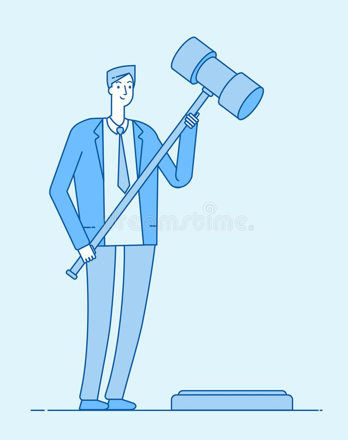 Advokat med auktionsklubban För domadvokater för jurisdiktion begrepp för vektor för laglig för lagstiftning skyldig bestraffning stock illustrationer