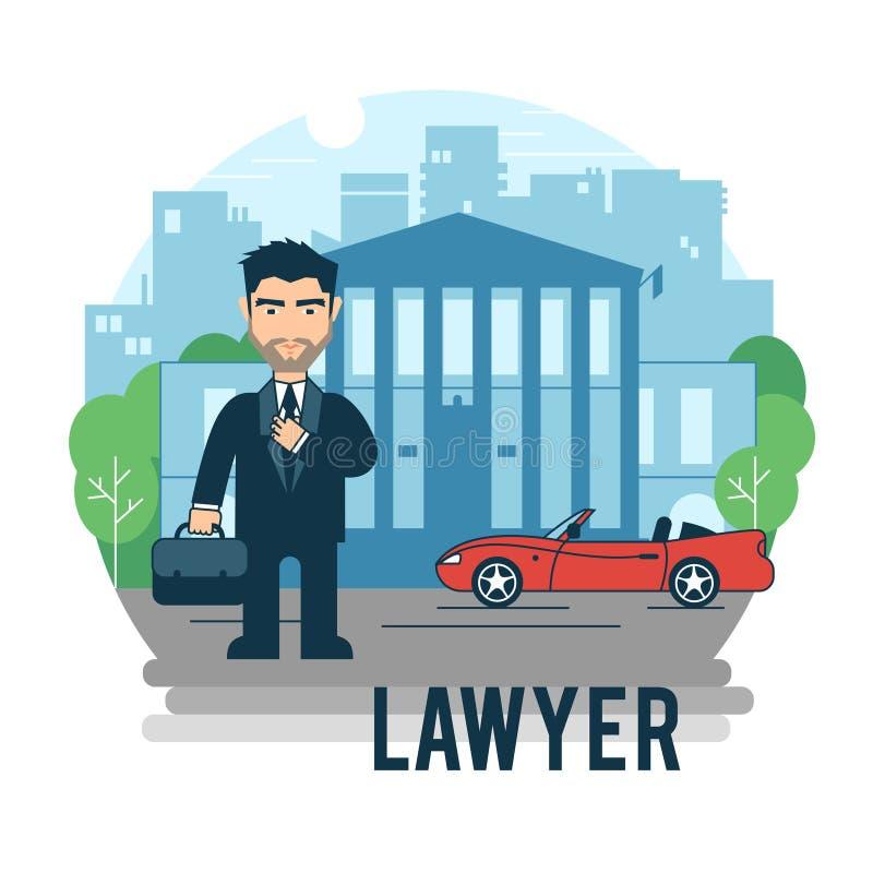 Advokat på domstolsbyggnaden stock illustrationer