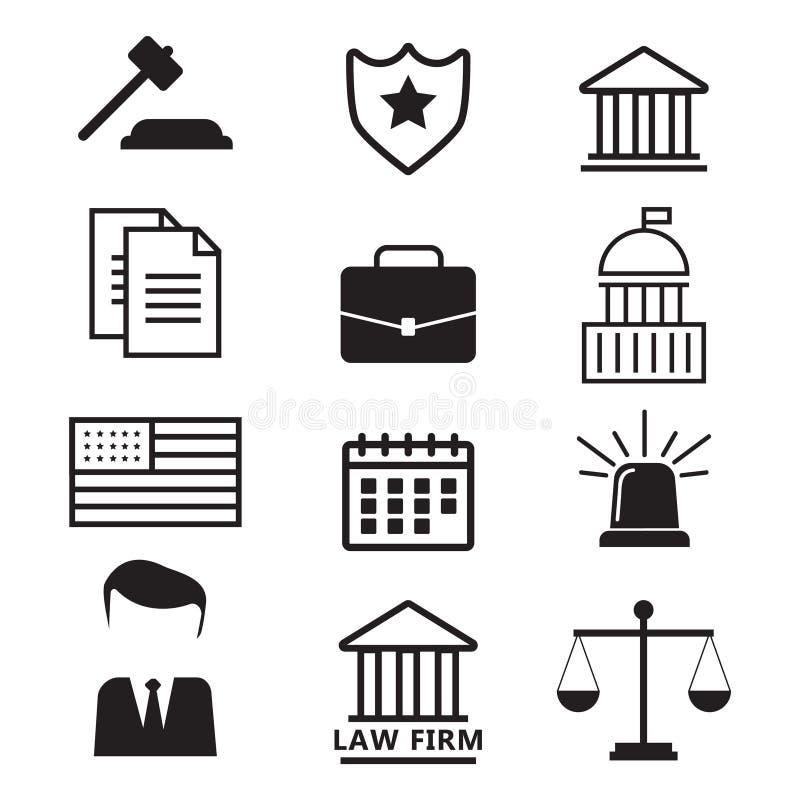 Advokatbegrepp Advokatsymboler i plan stil Advokattecken och symb royaltyfri illustrationer
