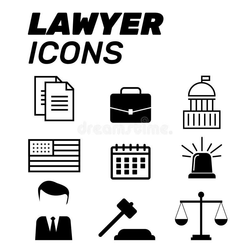 Advokatbegrepp Advokatsymboler i plan stil Advokattecken och symb vektor illustrationer
