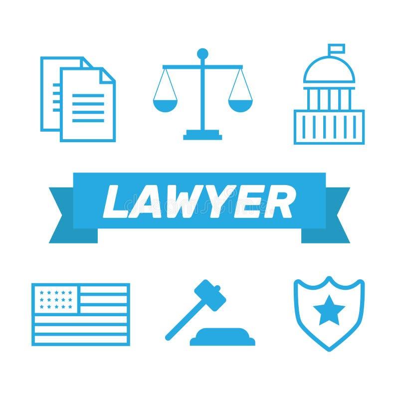 Advokatbegrepp Advokatsymboler i plan stil Advokattecken och symb stock illustrationer