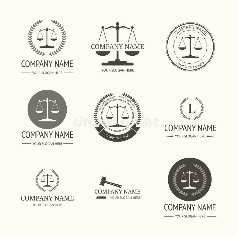 Advokatbyrålogomall tappning för etikettset stock illustrationer