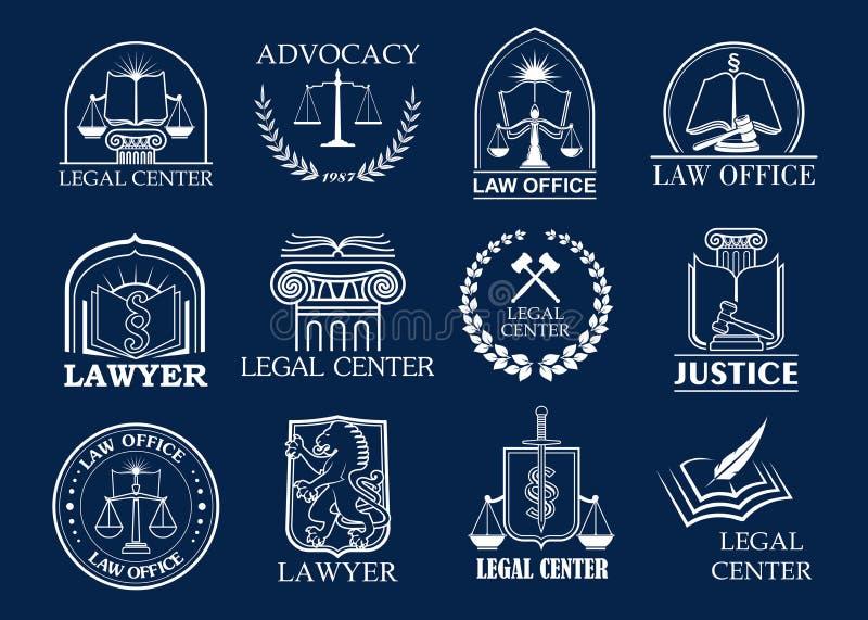 Advokatbyrån, den lagliga mitten och emblemet för advokatkontor ställde in royaltyfri illustrationer