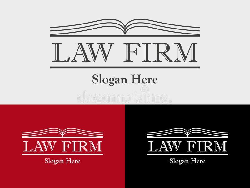 Advokatbyrån lagkontoret, advokatservice, öppnar mallen för bokvektorlogoen royaltyfri illustrationer