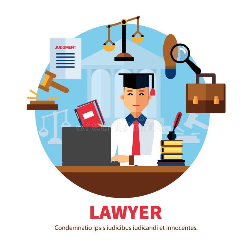 Advokatjurist Legal Expert Illustration stock illustrationer