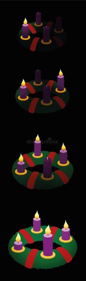 Adwentowy wianek Jeden Dwa Trzy Cztery świeczki royalty ilustracja