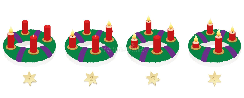 Adwentowy wianek Na Cztery Niedziela Płonących świeczkach royalty ilustracja