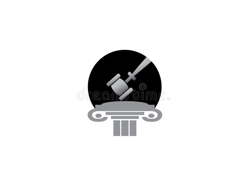 Adwokata młot w prawo sprawiedliwości budynku dla logo projekta royalty ilustracja