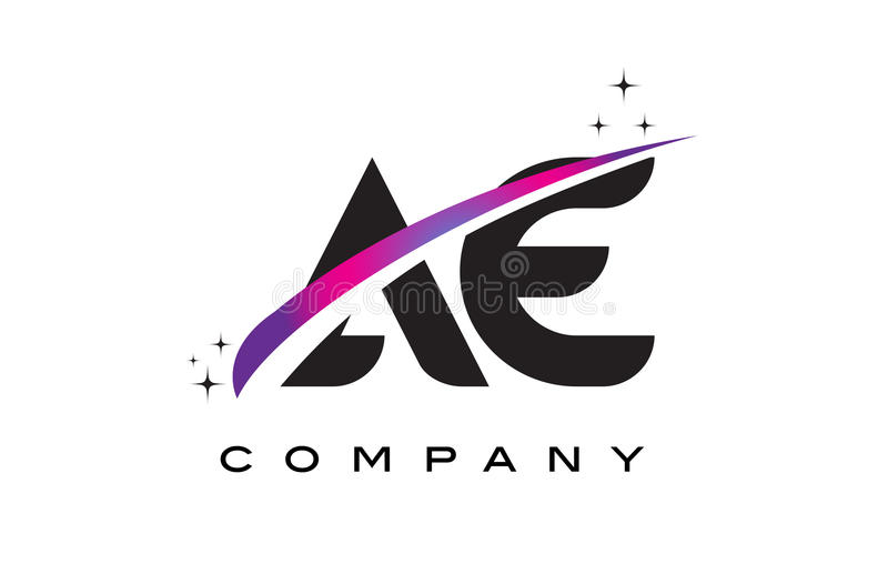AE A D Black Letter Logo Design with Purple Magenta Swoosh. And Stars vector illustration