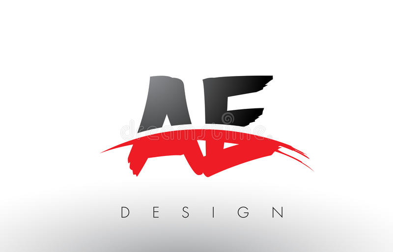 AE A D Brush Logo Letters with Red and Black Swoosh Brush Front. AE A D Brush Logo Letters Design with Red and Black Colors and Brush Letter Concept stock illustration