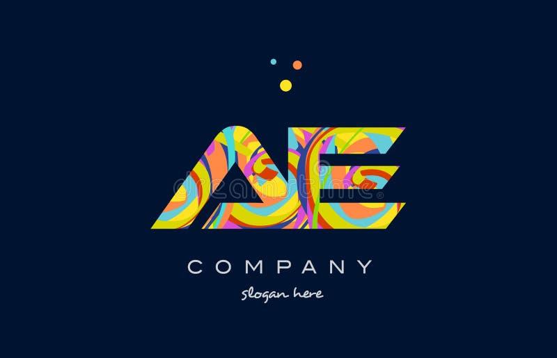 Ae a d colorful alphabet letter logo icon template vector. Ae a d alphabet letter logo colors colorful rainbow acrylic font creative text dots company vector vector illustration