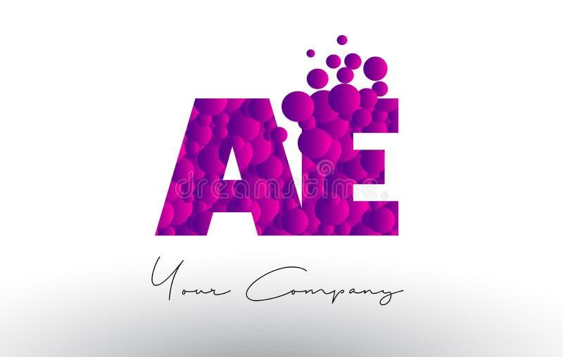 AE A D Dots Letter Logo with Purple Bubbles Texture. AE A D Dots Letter Logo with Purple Pink Magenta Bubbles Texture Vector stock illustration