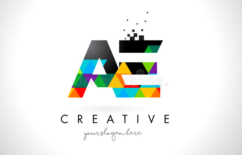 AE A D Letter Logo with Colorful Triangles Texture Design Vector. AE A D Letter Logo with Colorful Vivid Triangles Texture Design Vector Illustration vector illustration